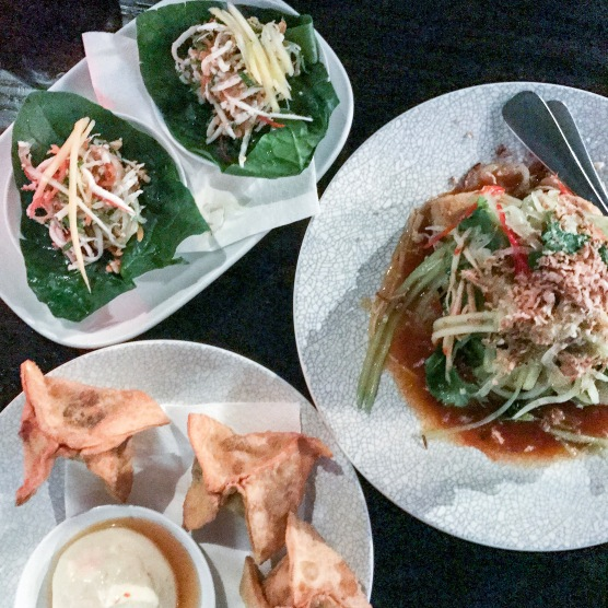 King of Snake - Spinach leaf roasted coconut salad; sichuan tofu; sticky beef wantons
